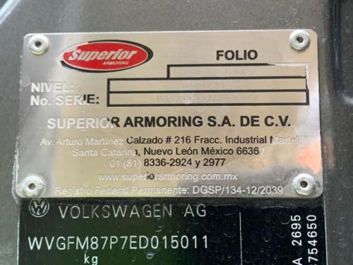 Volkswagen Touareg V6 TDI Nivel IV+ Superior Armoring 108 mil kms. Modelo 2014 $950,000.00